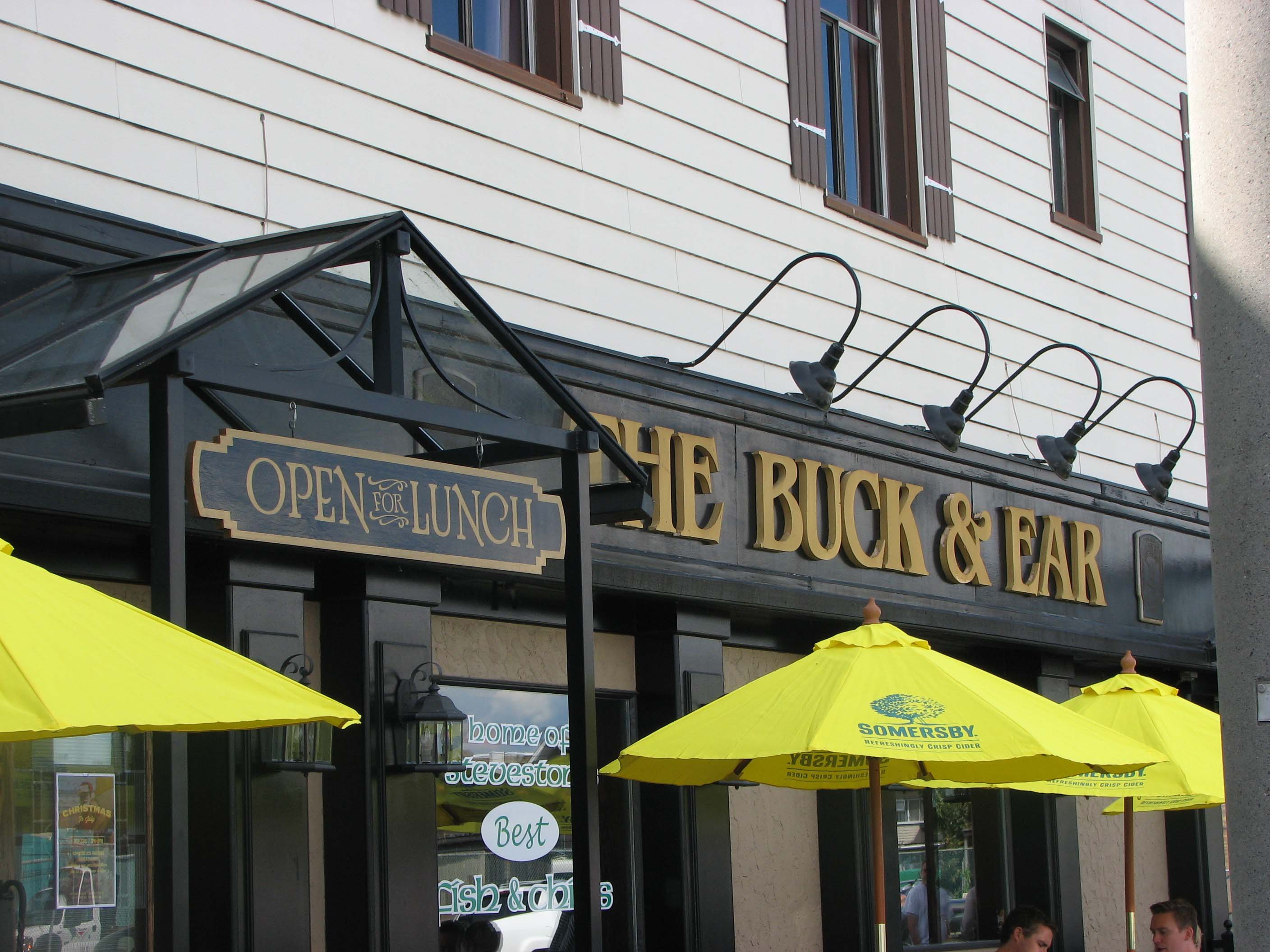 Front Entrance and P atio area at the Buck & Ear Pub in Steveston Harbour