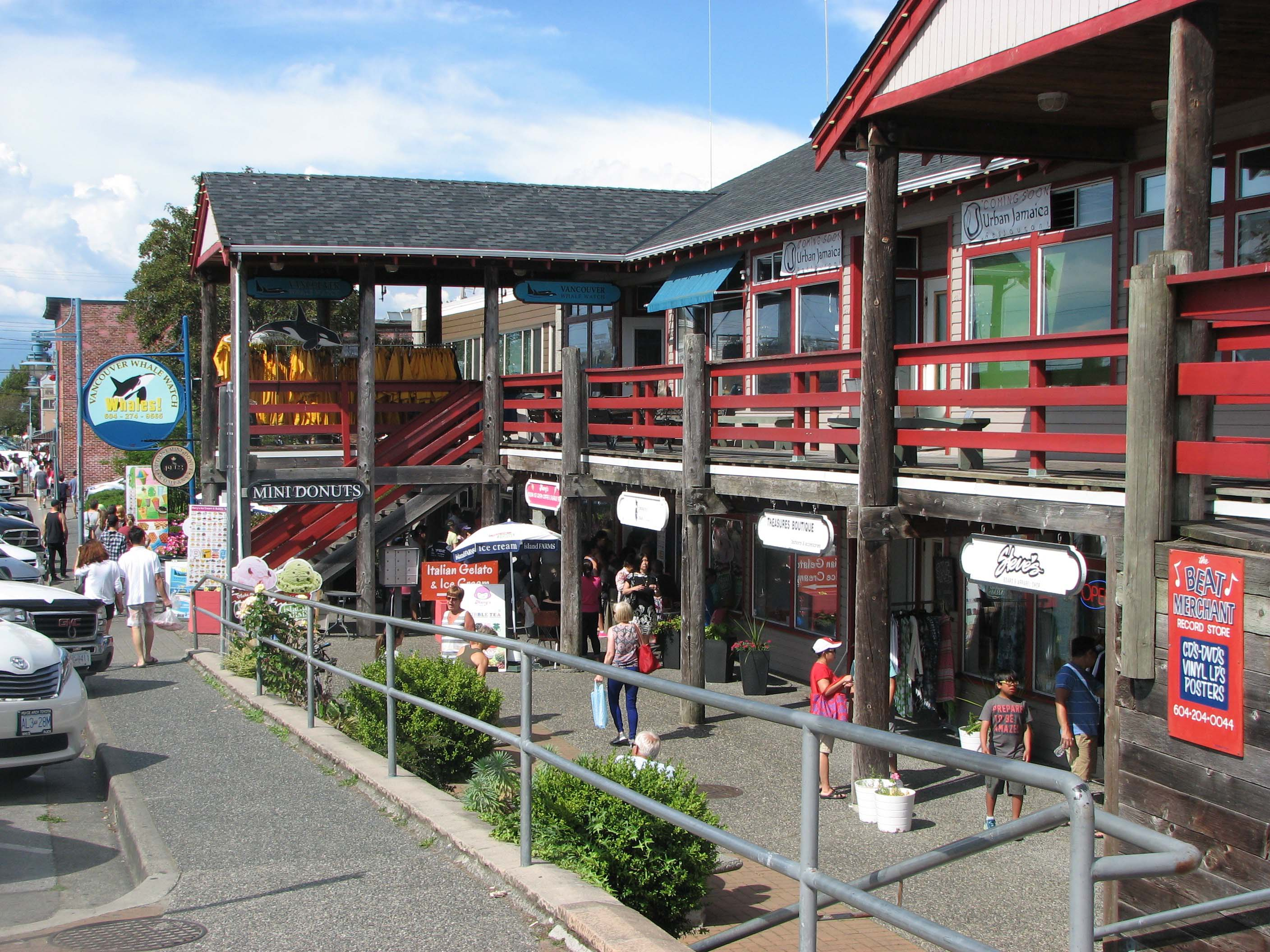 Retail Shops in Steveston Harbour, including Ice Cream Shop and Vancouver Whale Watching Office