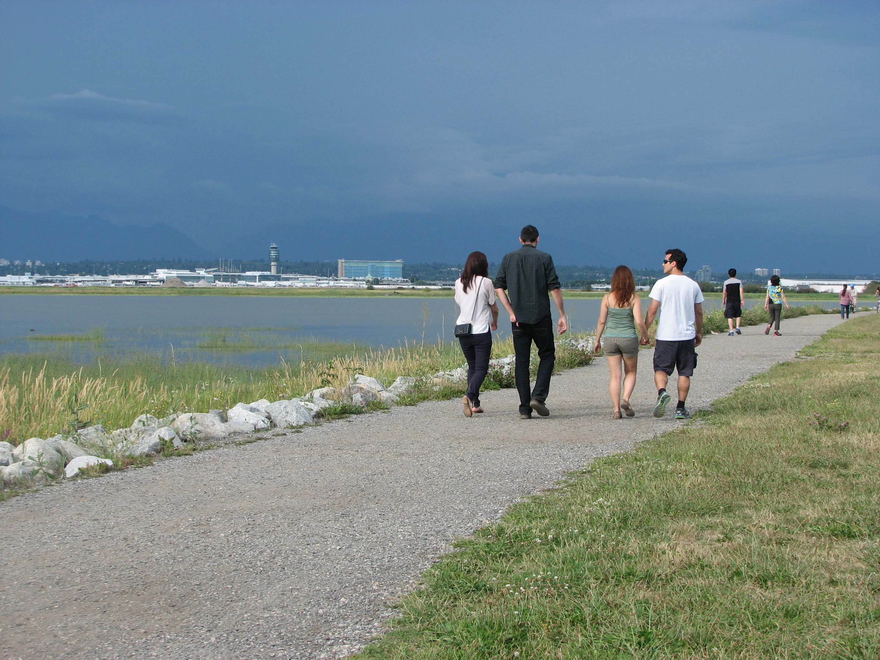 Strolling on West Dyke Trail across the Fraser River from YVR Airport