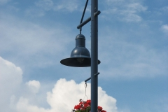 Potted Flowers on Street Lamp