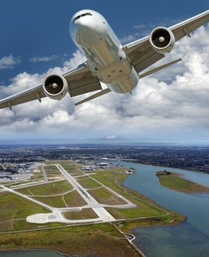 Flight over YVR, Vancouver Airport on the Sea Island, Metro Vancouver